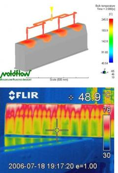 top: Moldflow mould filling simulation; bottom: thermal image of demoulded Durakerb