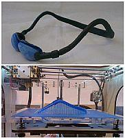 top: Occles prototype frame;  bottom: prototype frame being produced on Fearsomengine's 3D printer