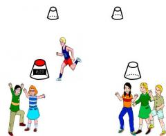 Exercise game principle using Funky Cones