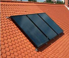 Installed glazed flat collector