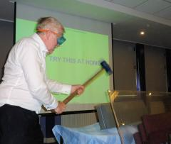 John McLoughlin demonstrating the impact resistance of Durakerb
