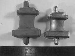 Before and after the sintering process, showing the extent of shrinkage